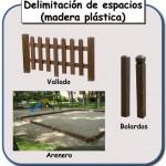 Delimitadores de espacios de madera plastica