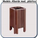 Papelera Alborán de madera plástica
