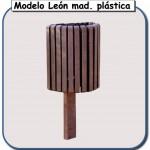 Papelera león de madera plastica